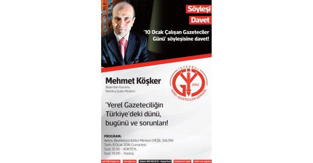 10 Ocak Çalışan Gazeteciler Günü söyleşisine davet