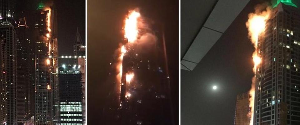 Dubai'de 86 katlı gökdelende yangın çıktı