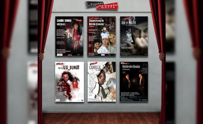 Tiyatro keyfi ünlü oyunculara teşekkür plaketi sunuyor