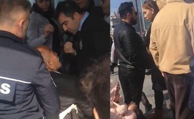 Taksim'de İran uyruklu kadın engelli yaşlı adamı asansöre bindirmedi