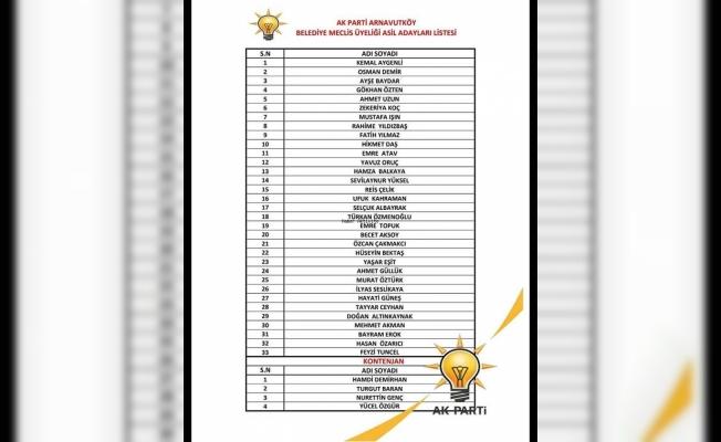 AK Parti Arnavutköy belediye meclis üye aday listesi