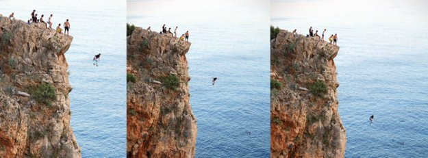 40 metre yükseklikten denize atladılar