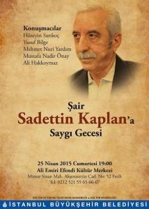 Şair Sadettin Kaplan'a saygı gecesi