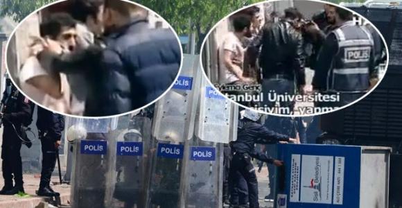 Skandal görüntüler:  Polis zorla poşu takıp fişledi