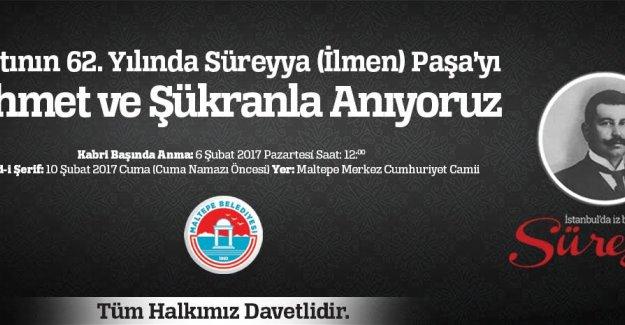 Süreyya Paşa 62. Ölüm Yıldönümünde Maltepe'de Anılacak