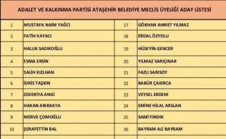 AK Parti Ataşehir belediye meclis üyeleri 2019 listesi