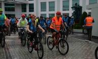 250 bisikletçi 26 kilometre yolu doğa için pedalladı