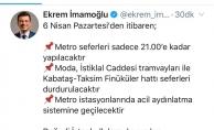 Metro Seferleri Saat 21.00'a Kadar Yapılacak