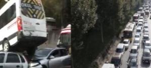 İnanılmaz kaza İstanbul trafiğini kilitledi