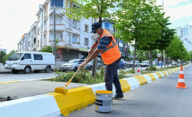 Esenyurt Belediyesi, ana arterlerde refüj boyalarını yeniliyor