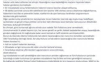 Fenerbahçe Derneği Basın Açıklaması